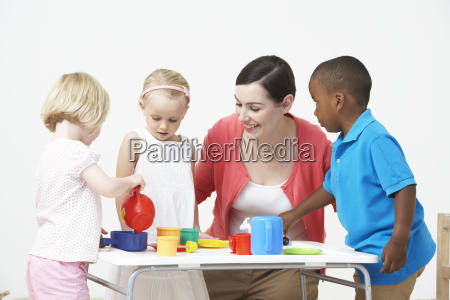 pre, school, children, enjoying, tea, party - 19409128
