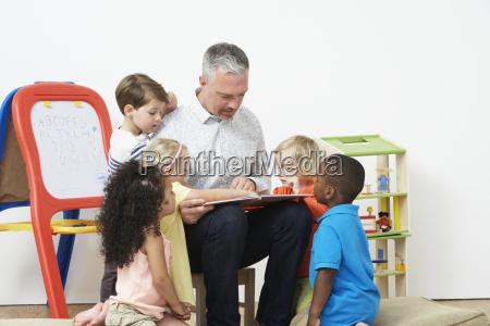 pre, school, teacher, reading, story, to - 19409140