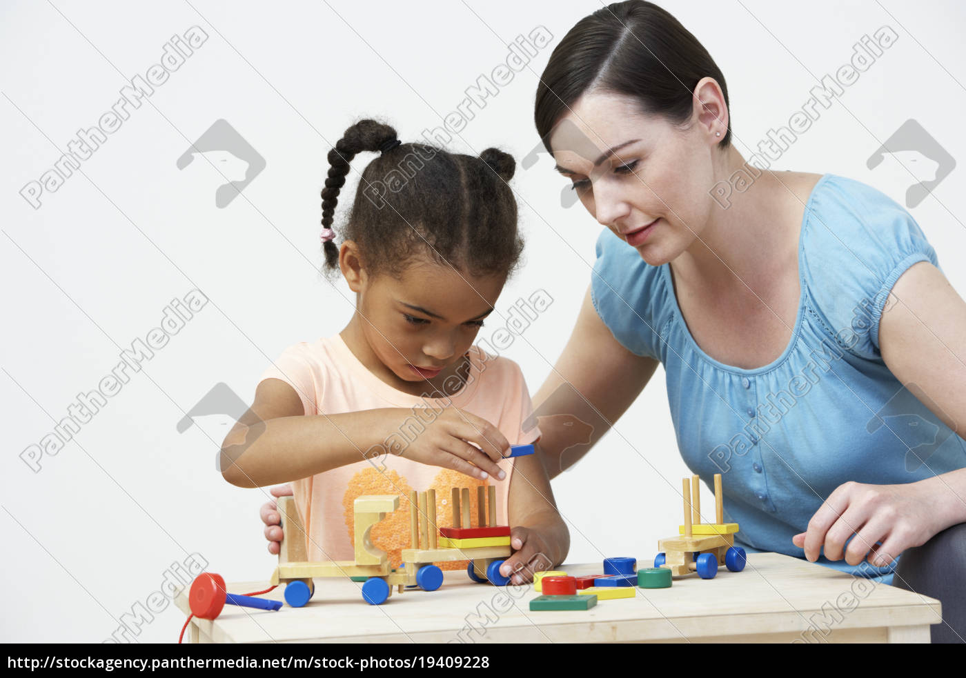 teacher, and, pre-school, pupil, playing, with - 19409228