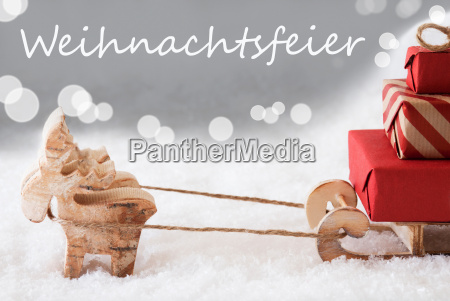reindeer, with, sled, , silver, background, , weihnachtsfeier - 19410556