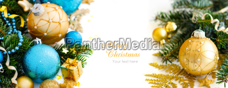 turquoise, and, golden, christmas, ornaments, border - 19410856