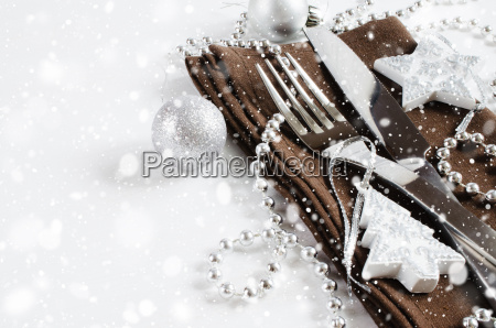 christmas table place setting holidays background