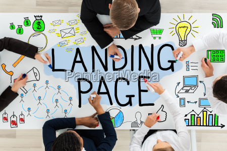 businesspeople drawing landing page concept on