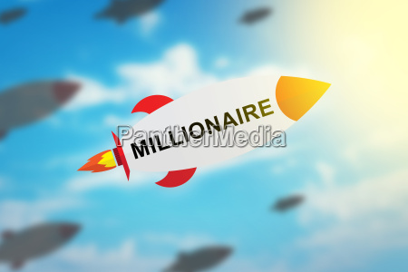 group of millionaire flat design rocket