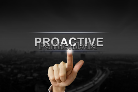 business, hand, pushing, proactive, button, on - 19412894