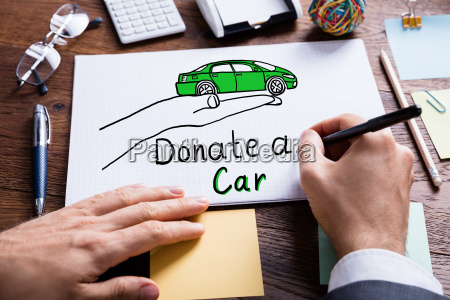 businessperson, drawing, concept, of, car, donation - 19412314