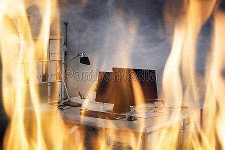 fire, burning, inside, the, office - 19412368