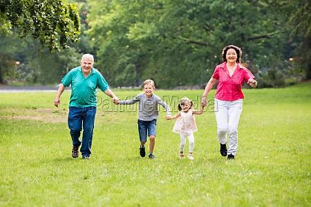 grandparents, and, grandchildren, running, in, park - 19412696