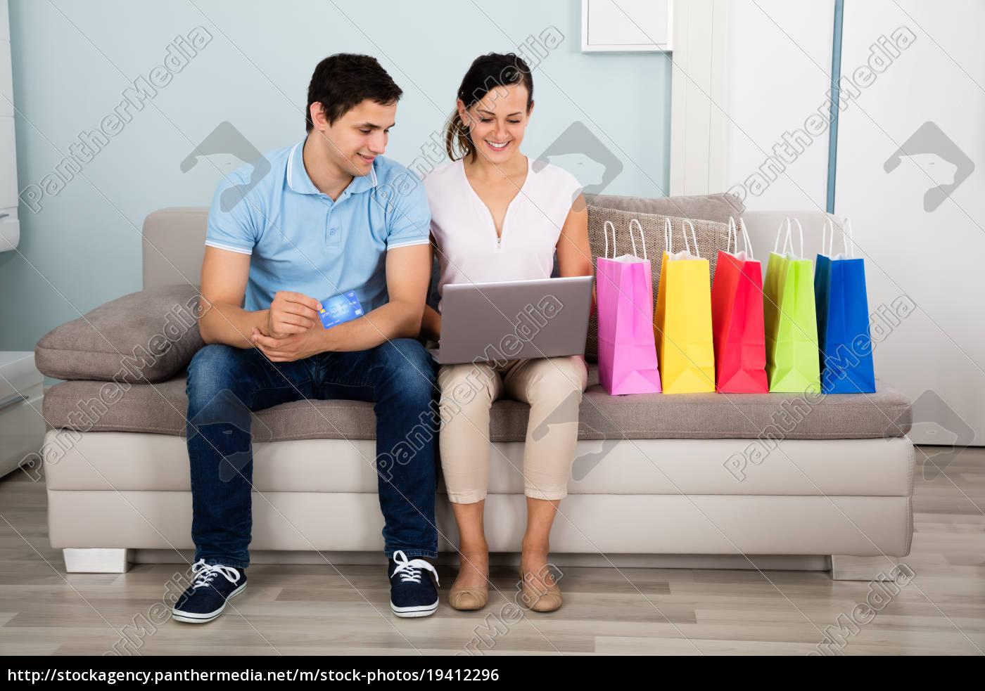 happy, couple, shopping, online, with, credit - 19412296