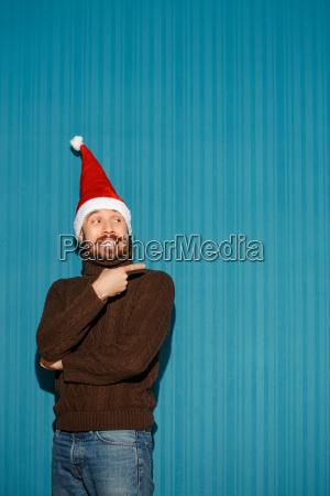 smiling, christmas, man, wearing, a, santa - 19412746