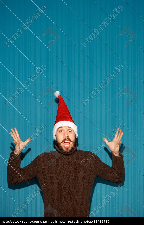 surprised, christmas, man, wearing, a, santa - 19412730