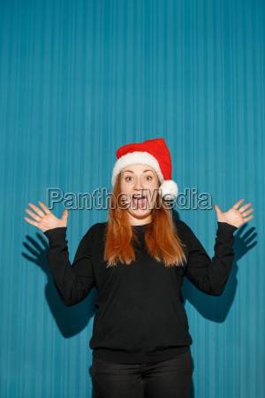 surprised, christmas, girl, wearing, a, santa - 19413342