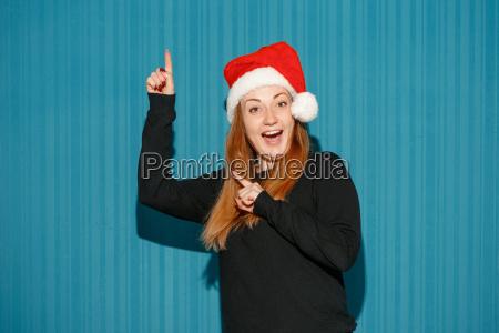 surprised, christmas, girl, wearing, a, santa - 19413424