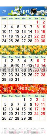 calendar for april may june 2017