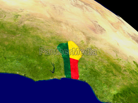benin with flag on earth