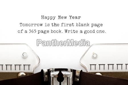 new year quote typewriter