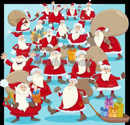 christmas santa claus group cartoon