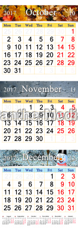 october november and december 2017 with