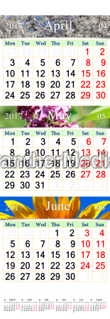 calendar for april june 2017 with
