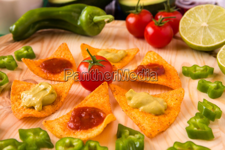 close up of nachos chips and