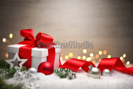 christmas background with gift and red