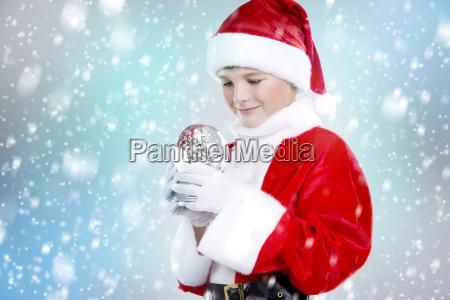 boy, dressed, up, as, santa, in - 19420956