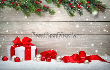 christmas, wood, background, with, gift, and - 19420184