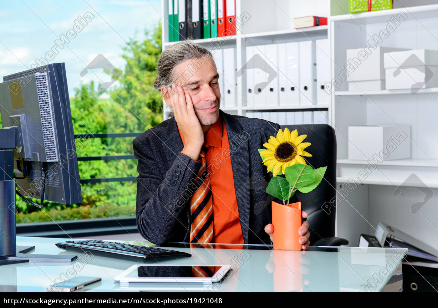 business, man, at, his, desk, looking - 19421048