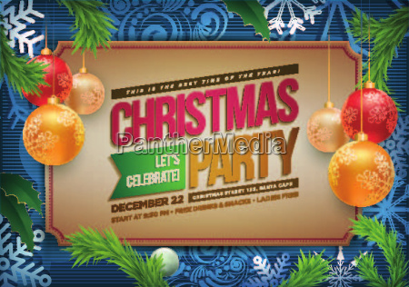 vector christmas party poster design template