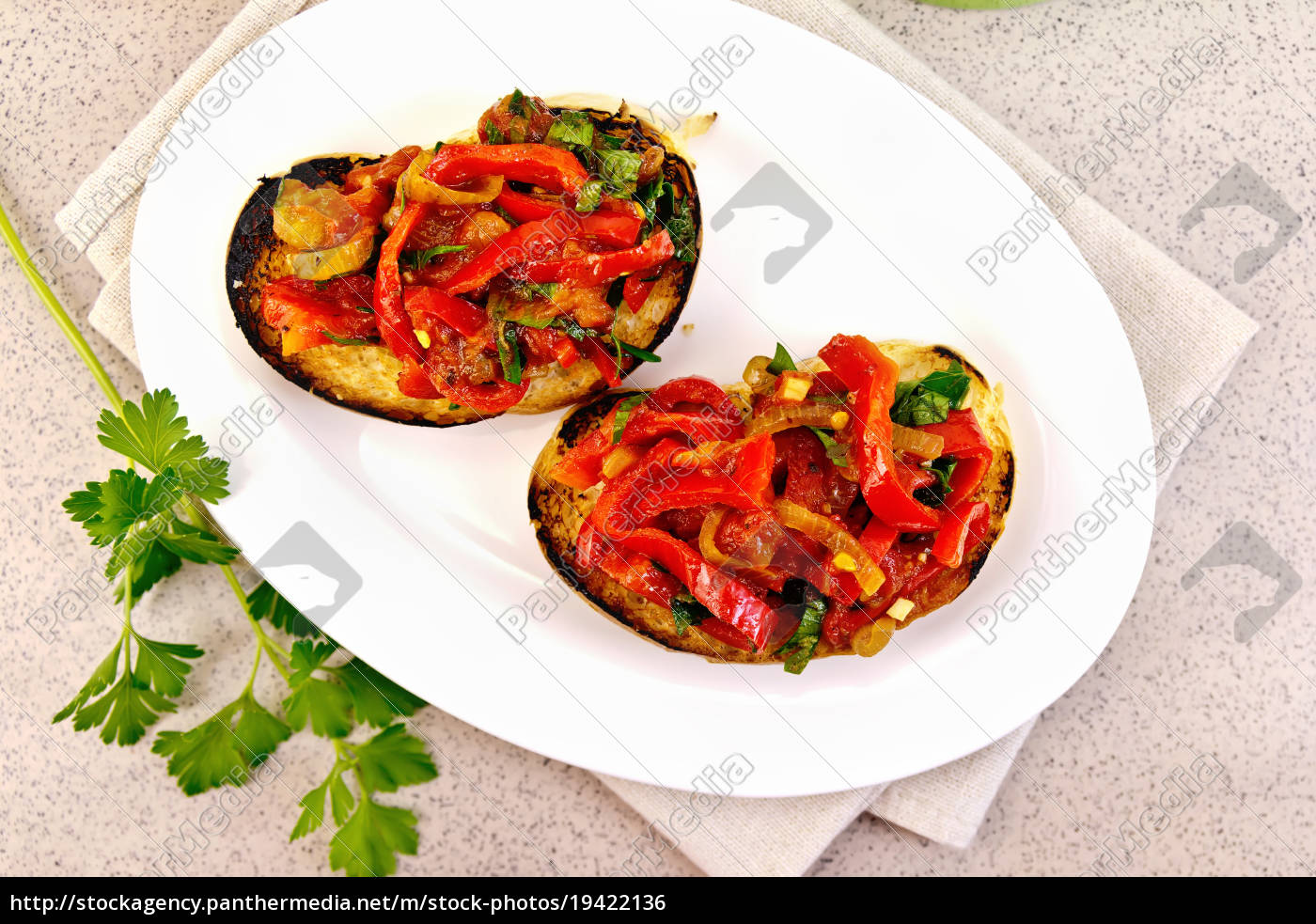 bruschetta, with, vegetables, in, plate, on - 19422136
