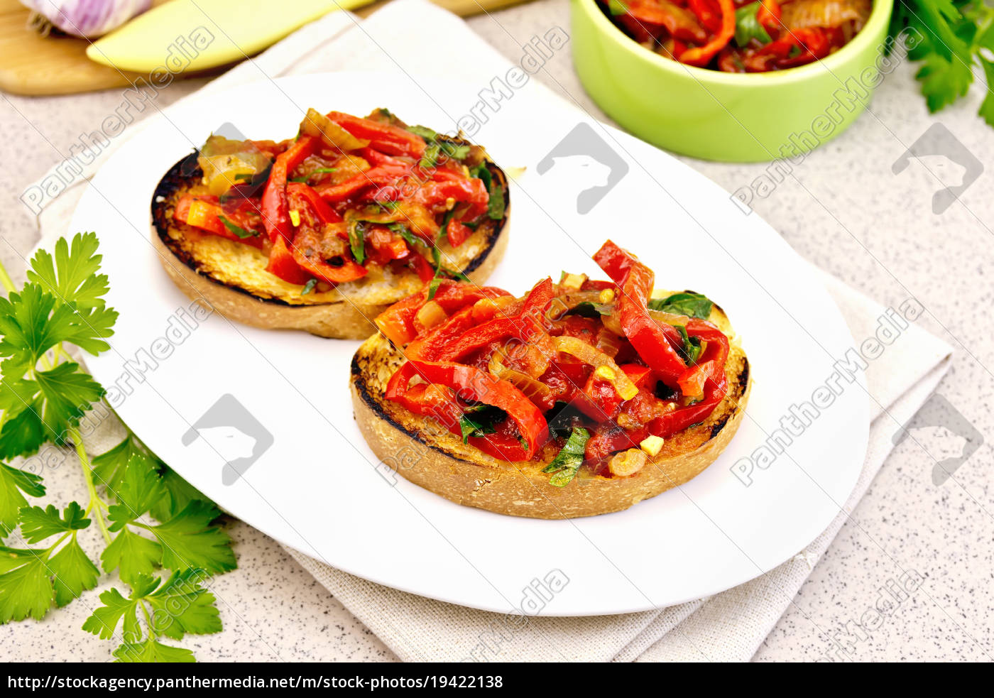 bruschetta, with, vegetables, in, plate, on - 19422138