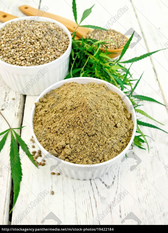 flour, hemp, and, grain, in, bowls - 19422184