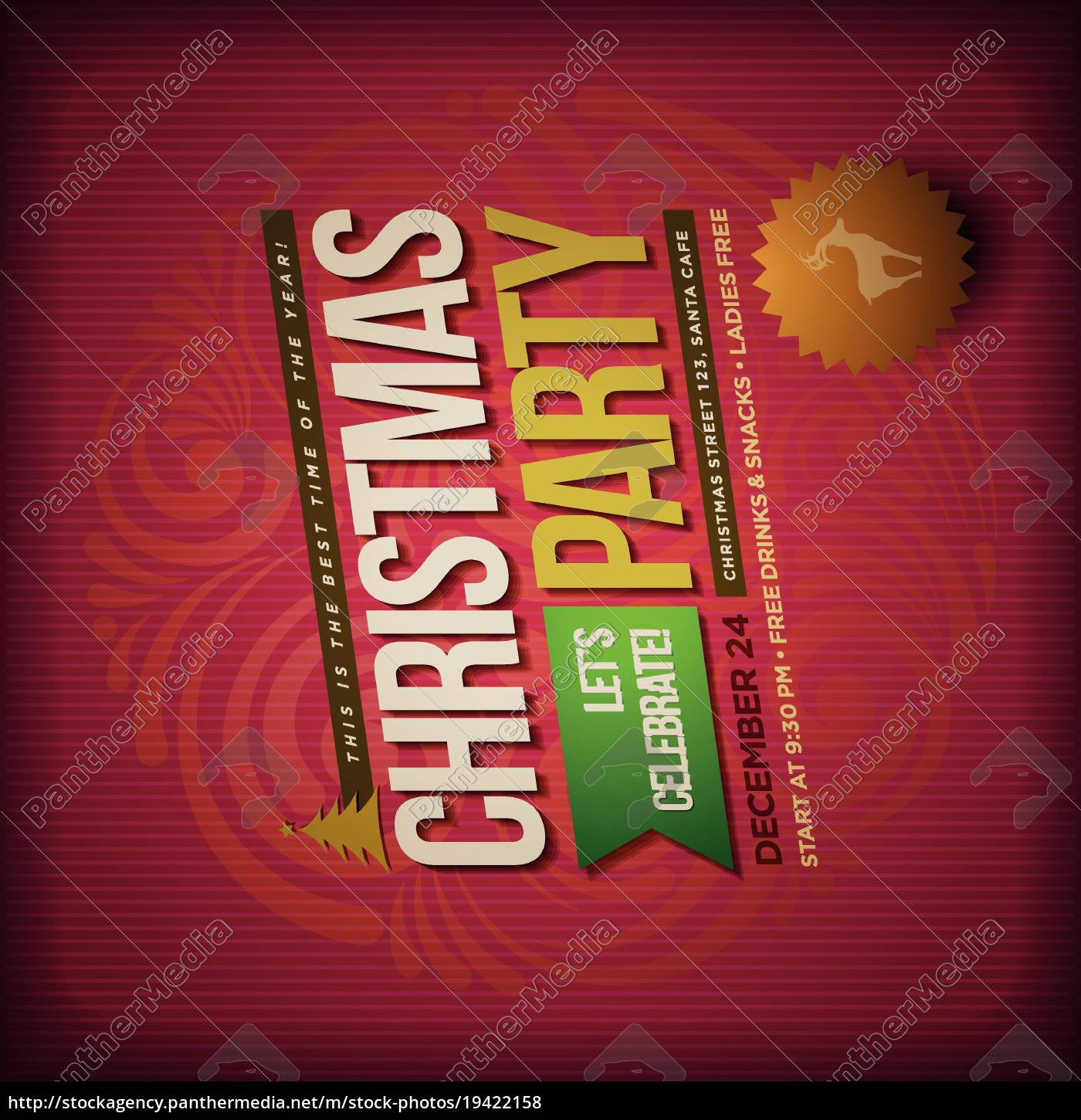 vector, christmas, party, poster, design, template. - 19422158