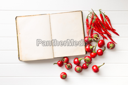 blank recipe book and hot chili