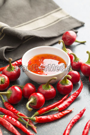 red chili peppers and chili sauce
