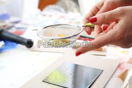 coloured pigments painting
