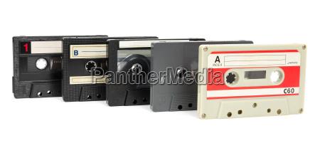 set of vintage audio tapes on