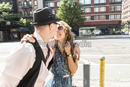 funky couple in street new york
