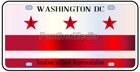 washington dc license plate flag