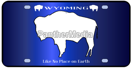 wyoming state license plate flag