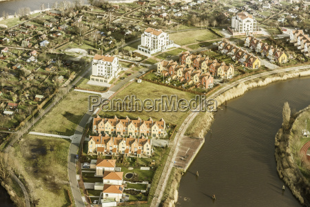 aerial view of housing development on