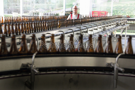beer bottles on production line in