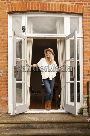 mid adult woman looking out from