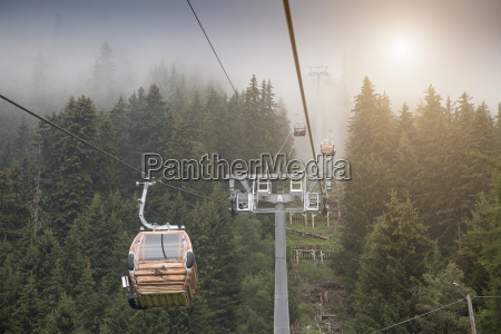 view of mist and cable cars