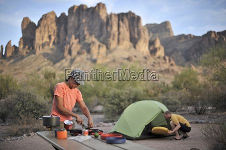 backpacking couple making camp apache junction