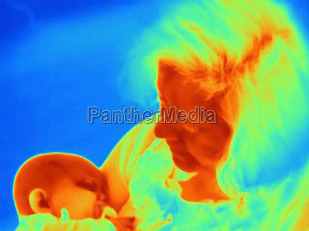thermal image of mother cradling six