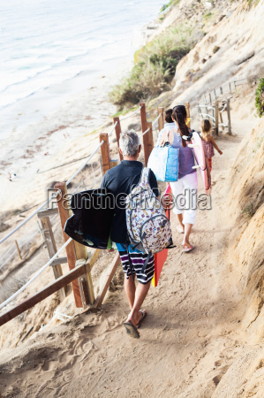 family walking to beach with surfboards