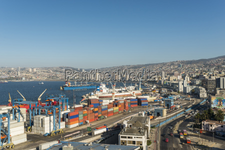 view of city and ports from