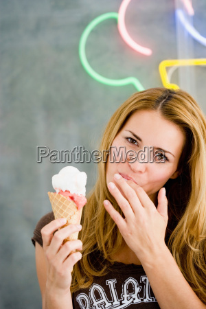 young woman with ice cream cone