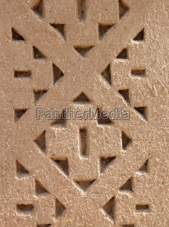 pattern designed into the mud brick
